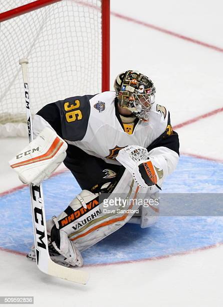 Goaltender John Gibson of the Anaheim Ducks plays in the Western Conference Semifinal Game between the Pacific Division and the Central Division as...