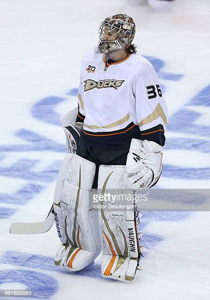 Goaltender John Gibson of the Anaheim Ducks warms up prior to Game Six of the Second Round of the 2014 NHL Stanley Cup Playoffs against the Los...