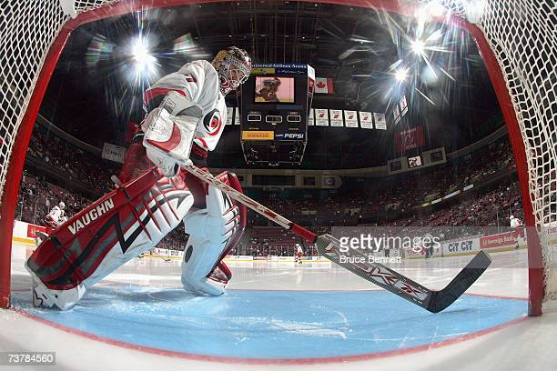Goaltender John Grahame of the Carolina Hurricanes skates infront of the goal during the game against the New Jersey Devils on March 17 2007 at the...