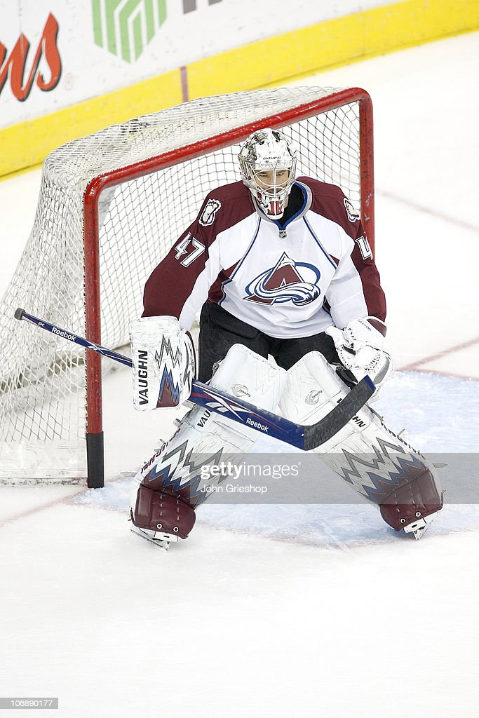 Goaltender <a gi-track='captionPersonalityLinkClicked' href=/galleries/search?phrase=John+Grahame&family=editorial&specificpeople=201491 ng-click='$event.stopPropagation()'>John Grahame</a> #47 of the Colorado Avalanche warms up prior to the start of the game against the Columbus Blue Jackets on November 12, 2010 at Nationwide Arena in Columbus, Ohio.