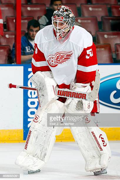 Goaltender Jonas Gustavsson of the Detroit Red Wings skates on the ice prior to the start of the game against the Florida Panthers at the BBT Center...