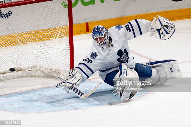 Goaltender Jonas Gustavsson of the Toronto Maple Leafs lets a goal in by Tomas Fleischmann of the Florida Panthers at the BankAtlantic Center on...