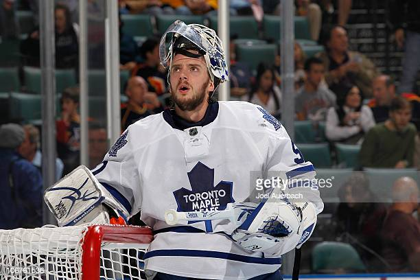 Goaltender Jonas Gustavsson of the Toronto Maple Leafs prepares for the game against the Florida Panthers on November 10 2010 at the BankAtlantic...