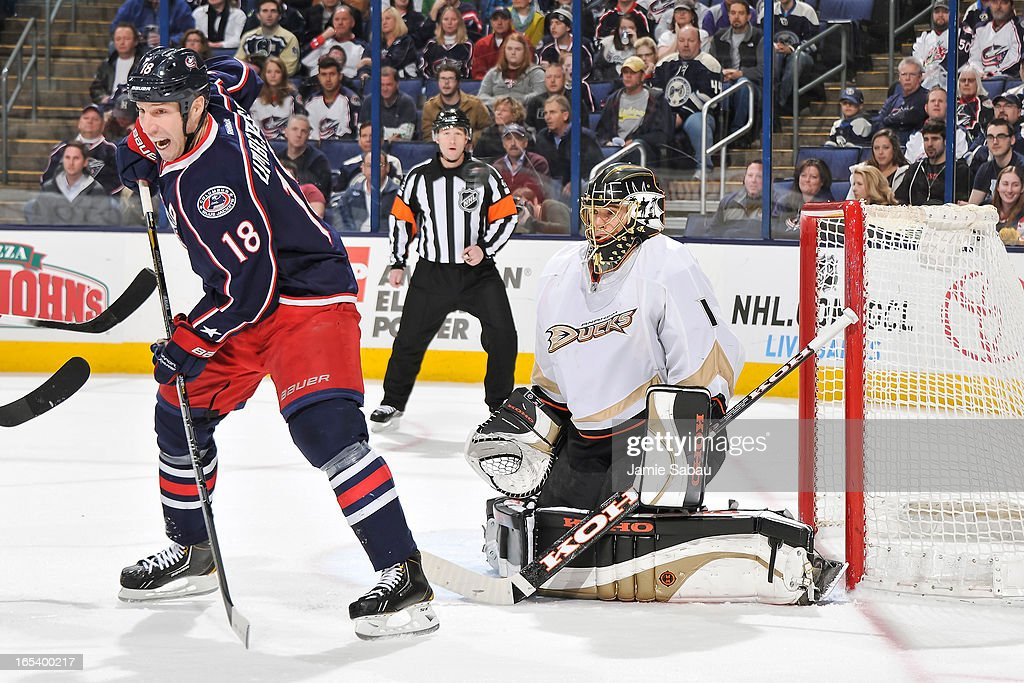 Goaltender <a gi-track='captionPersonalityLinkClicked' href=/galleries/search?phrase=Jonas+Hiller&family=editorial&specificpeople=743364 ng-click='$event.stopPropagation()'>Jonas Hiller</a> #1 of the Anaheim Ducks defends the net against the Columbus Blue Jackets on March 31, 2013 at Nationwide Arena in Columbus, Ohio.