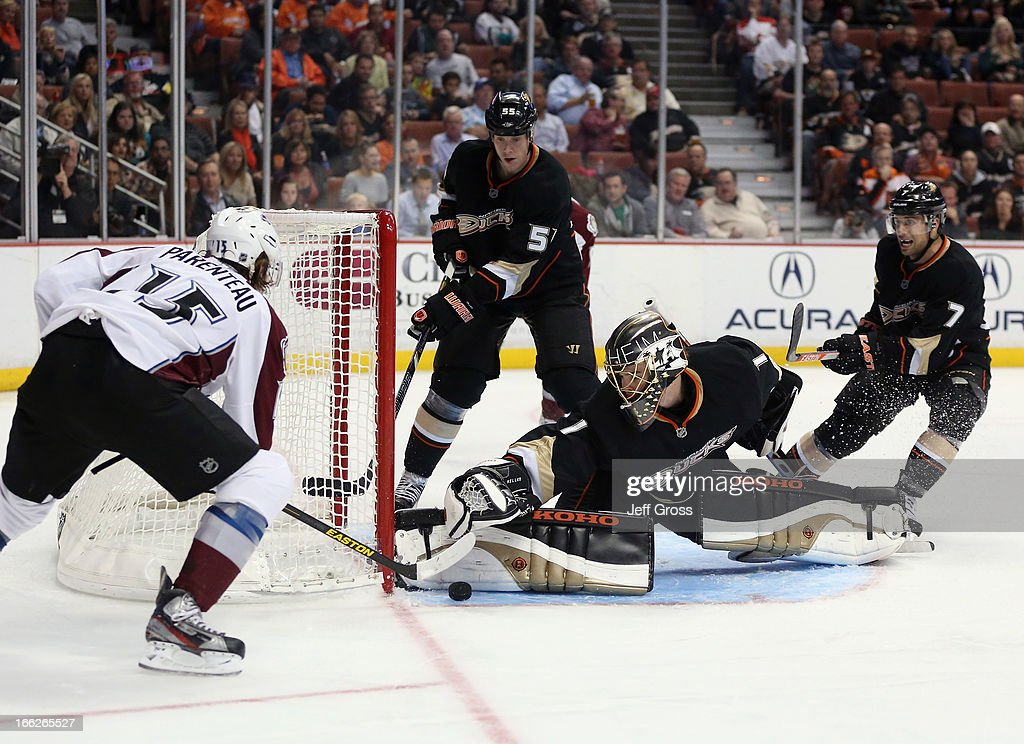 Goaltender Jonas Hiller #1 of the Anaheim Ducks makes a save on a shot by P.A. Parenteau #15 of the Colorado Avalanche in the second period at Honda Center on April 10, 2013 in Anaheim, California.