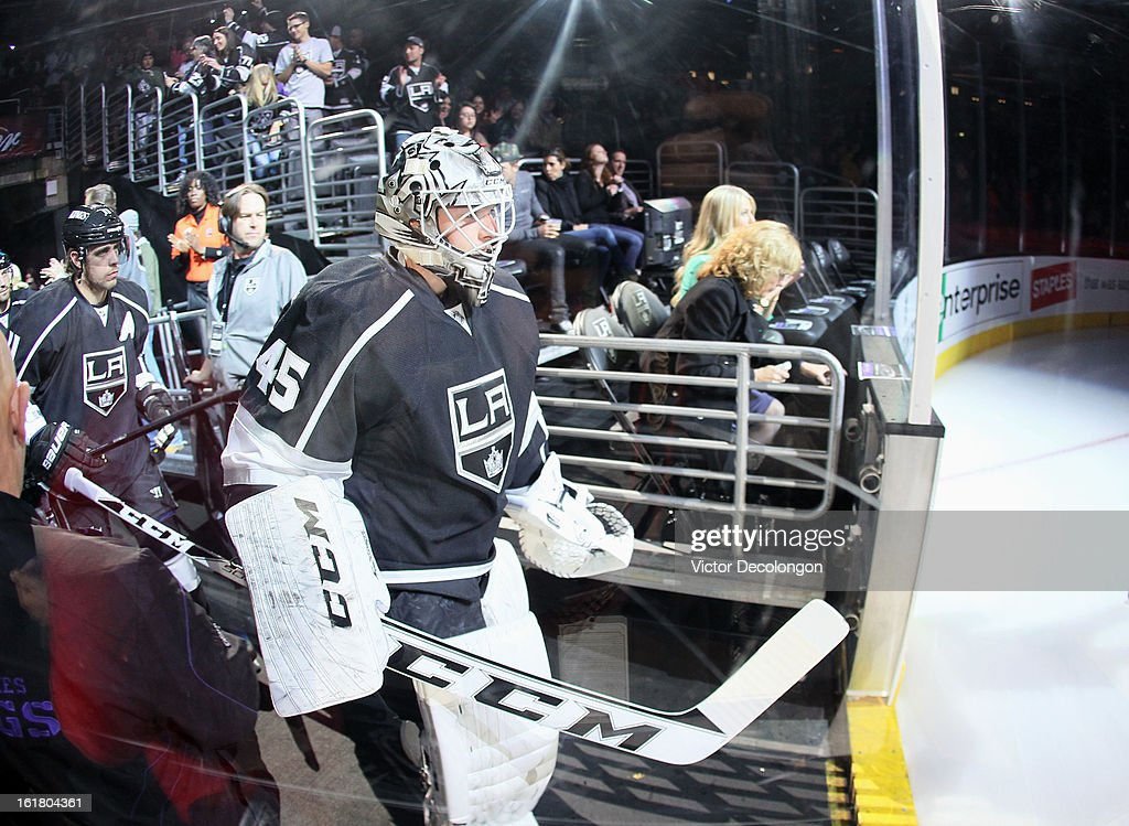 Goaltender Jonathan Bernier #45 of the Los Angeles Kings leads his team onto the ice prior to the NHL game against the Columbus Blue Jackets at Staples Center on February 15, 2013 in Los Angeles, California. The Kings defeated the Blue Jackets 2-1.