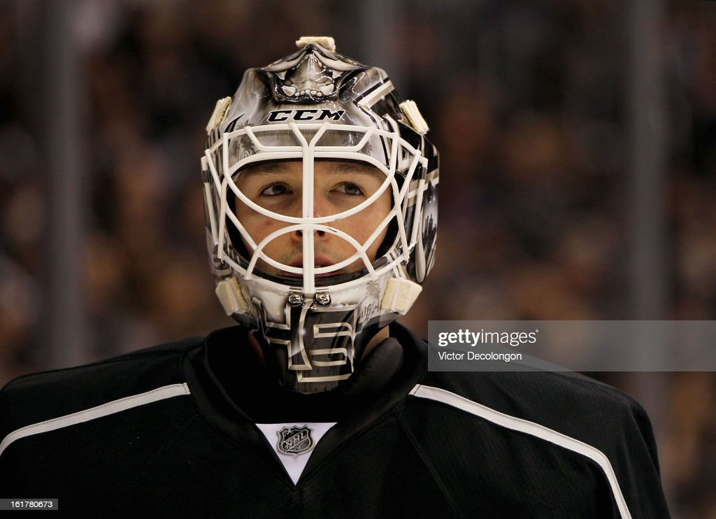 Goaltender <a gi-track='captionPersonalityLinkClicked' href=/galleries/search?phrase=Jonathan+Bernier&family=editorial&specificpeople=540491 ng-click='$event.stopPropagation()'>Jonathan Bernier</a> #45 of the Los Angeles Kings looks on during a break in the NHL game against the Columbus Blue Jackets at Staples Center on February 15, 2013 in Los Angeles, California. The Kings defeated the Blue Jackets 2-1.