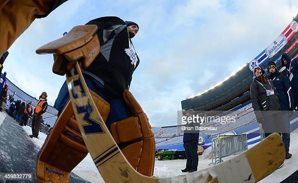 Goaltender Jonathan Bernier of the Toronto Maple Leafs walks back to the locker room during 2014 Bridgestone NHL Winter Classic team practice session...