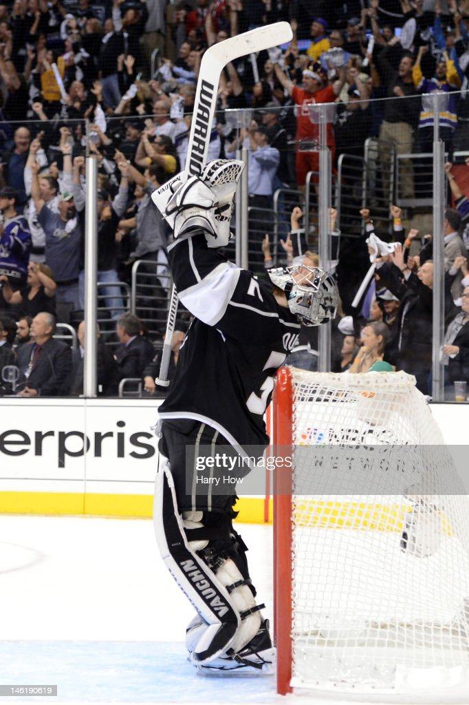 Goaltender Jonathan Quick of the Los Angeles Kings celebrates late in the third period against the New Jersey Devils in Game Six of the 2012 Stanley...