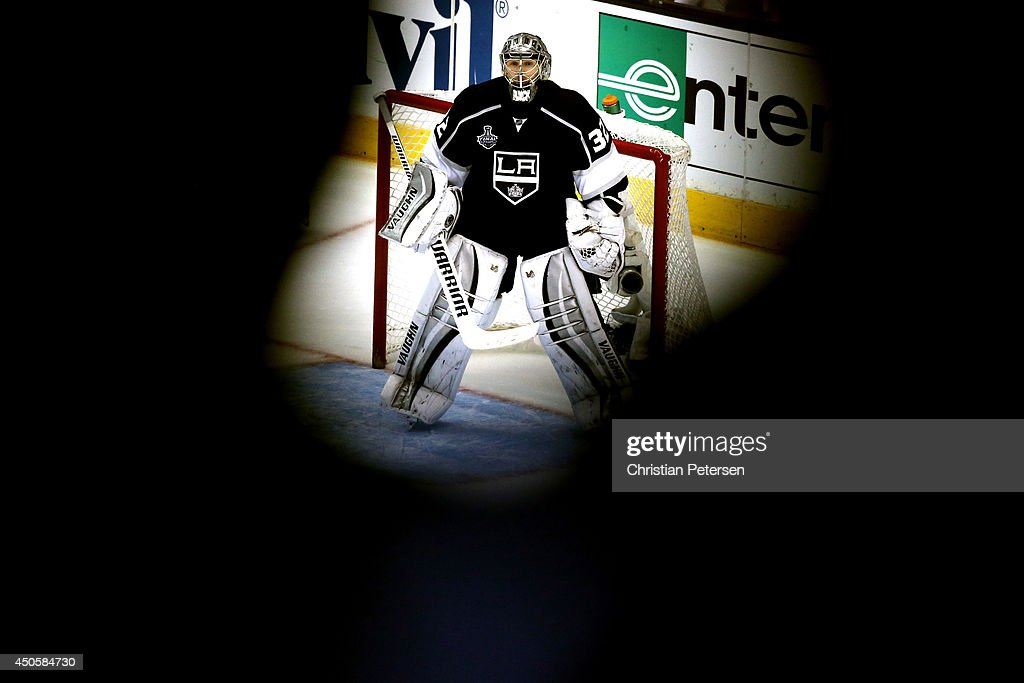 Goaltender Jonathan Quick of the Los Angeles Kings in net in the third period against the New York Rangers during Game Five of the 2014 Stanley Cup...