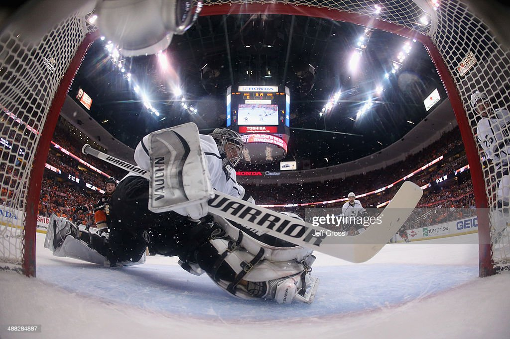 Goaltender Jonathan Quick #32 of the Los Angeles Kings lunges against the Anaheim Ducks in Game One of the Second Round of the 2014 NHL Stanley Cup Playoffs at Honda Center on May 3, 2014 in Anaheim, California.