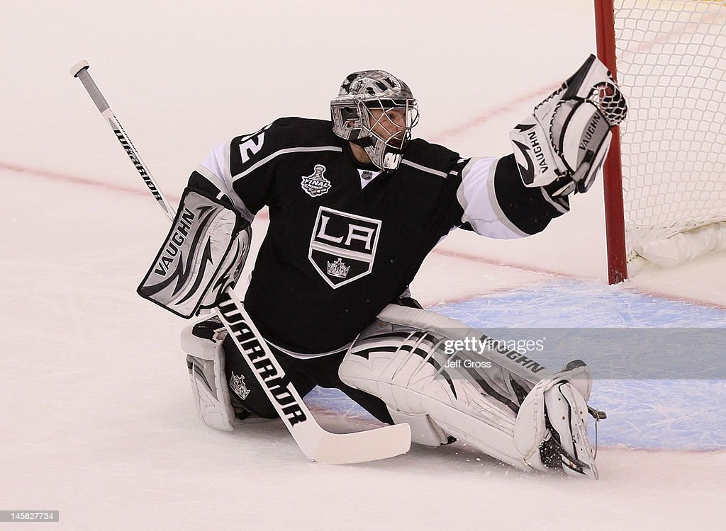 Goaltender Jonathan Quick of the Los Angeles Kings makes a save against New Jersey Devils during Game Four of the 2012 Stanley Cup Final at Staples...