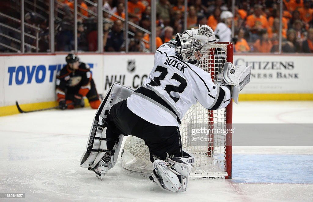 Goaltender Jonathan Quick #32 of the Los Angeles Kings picks himself up after being knocked down against the Anaheim Ducks in Game One of the Second Round of the 2014 NHL Stanley Cup Playoffs at Honda Center on May 3, 2014 in Anaheim, California.