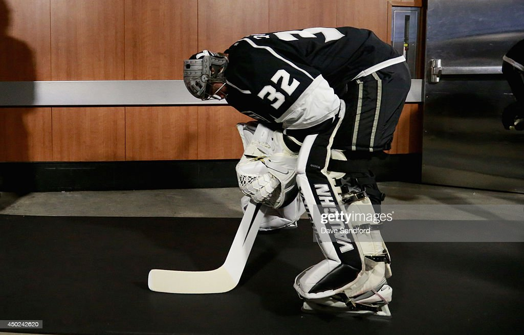 Goaltender Jonathan Quick of the Los Angeles Kings prepares to play the New York Rangers in Game Two of the 2014 Stanley Cup Final at Staples Center...