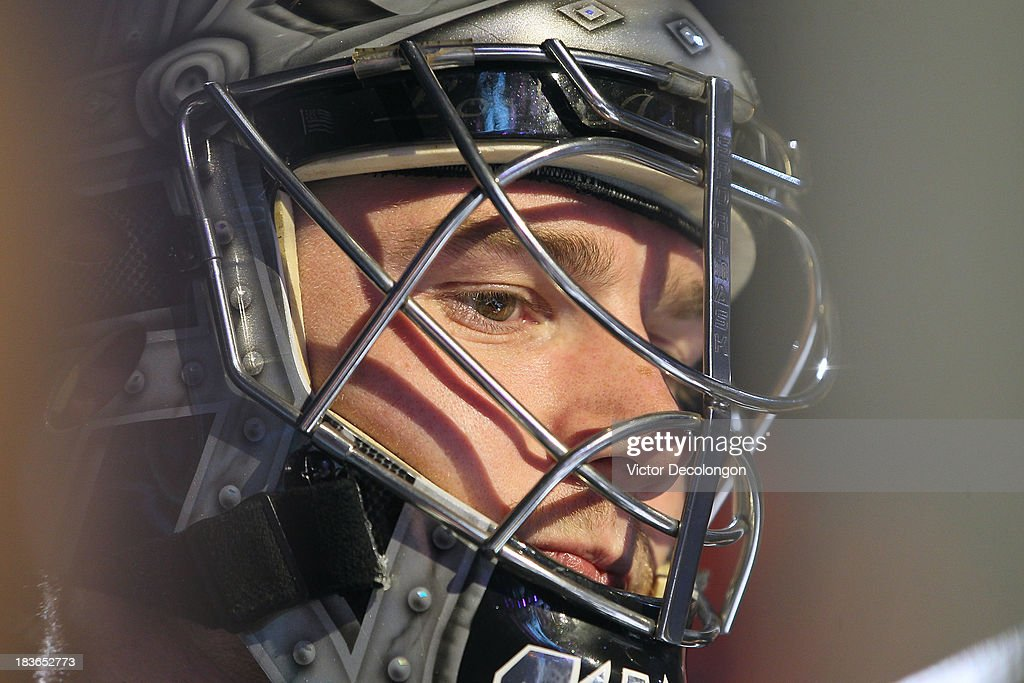 Goaltender <a gi-track='captionPersonalityLinkClicked' href=/galleries/search?phrase=Jonathan+Quick&family=editorial&specificpeople=2271852 ng-click='$event.stopPropagation()'>Jonathan Quick</a> #32 of the Los Angeles Kings waits to take the ice prior to the NHL game against the New York Rangers at Staples Center on October 7, 2013 in Los Angeles, California. The Rangers defeated the Kings 3-1.