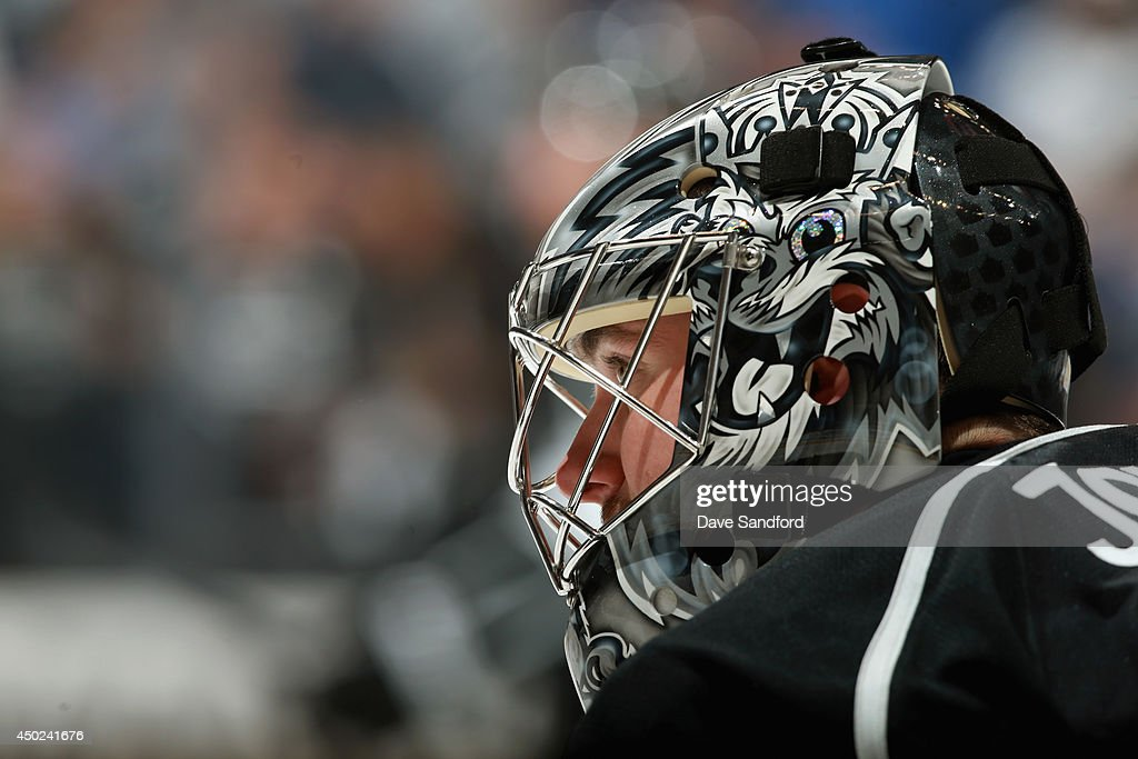 Goaltender Jonathan Quick of the Los Angeles Kings warms up before Game Two of the 2014 Stanley Cup Final against the New York Rangers at Staples...