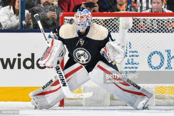 Goaltender Joonas Korpisalo of the Columbus Blue Jackets defends the net against the Toronto Maple Leafs on February 15 2017 at Nationwide Arena in...