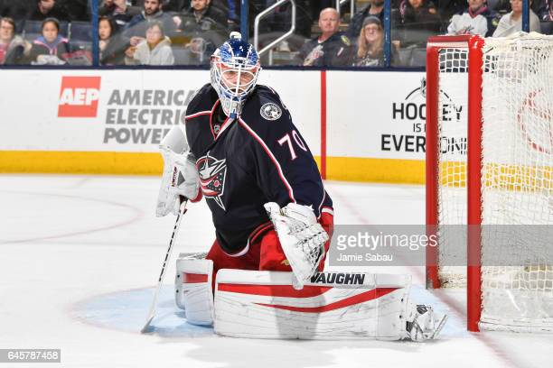 Goaltender Joonas Korpisalo of the Columbus Blue Jackets defends the net against the New York Islanders on February 25 2017 at Nationwide Arena in...