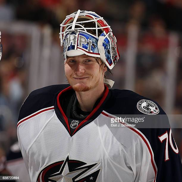 Goaltender Joonas Korpisalo of the Columbus Blue Jackets glides back to the net after a break in the action against the Florida Panthers at the BBT...