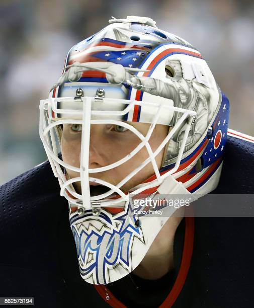 Goaltender Joonas Korpisalo of the Columbus Blue Jackets looks on during first period action against the Winnipeg Jets at the Bell MTS Place on...