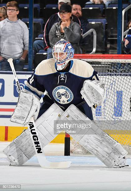 Goaltender Joonas Korpisalo of the Columbus Blue Jackets warms up before a game against the New York Islanders on December 12 2015 at Nationwide...