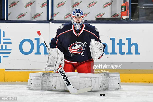 Goaltender Joonas Korpisalo of the Columbus Blue Jackets warms up before a game against the Carolina Hurricanes on January 17 2017 at Nationwide...