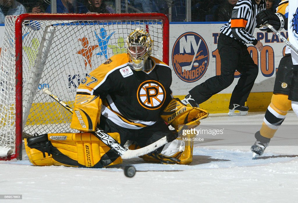 Goaltender Jordan Sigalet of the Providence Bruins guards the net during the game against the Bridgeport Sound Tigers at the Arena at Harbor Yard on...