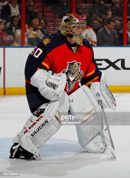 Goaltender Jose Theodore of the Florida Panthers defends the goal against the Toronto Maple Leafs at the BBT Center on February 18 2013 in Sunrise...