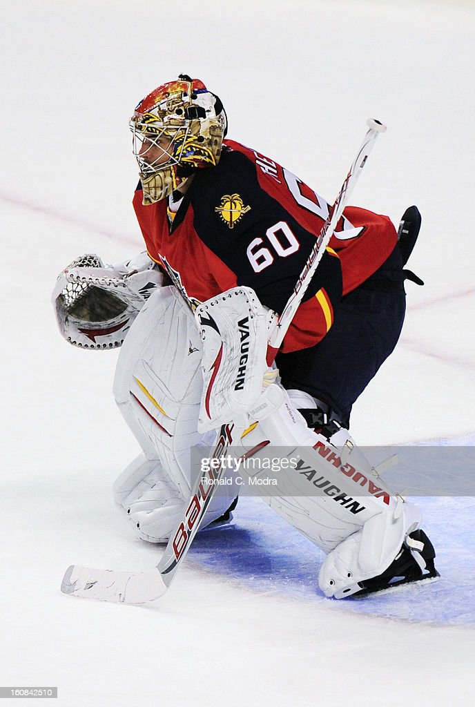 Goaltender Jose Theodore #60 of the Florida Panthers defends the net during a NHL game against the Winnipeg Jets at the BB&T Center on January 31, 2013 in Sunrise, Florida.