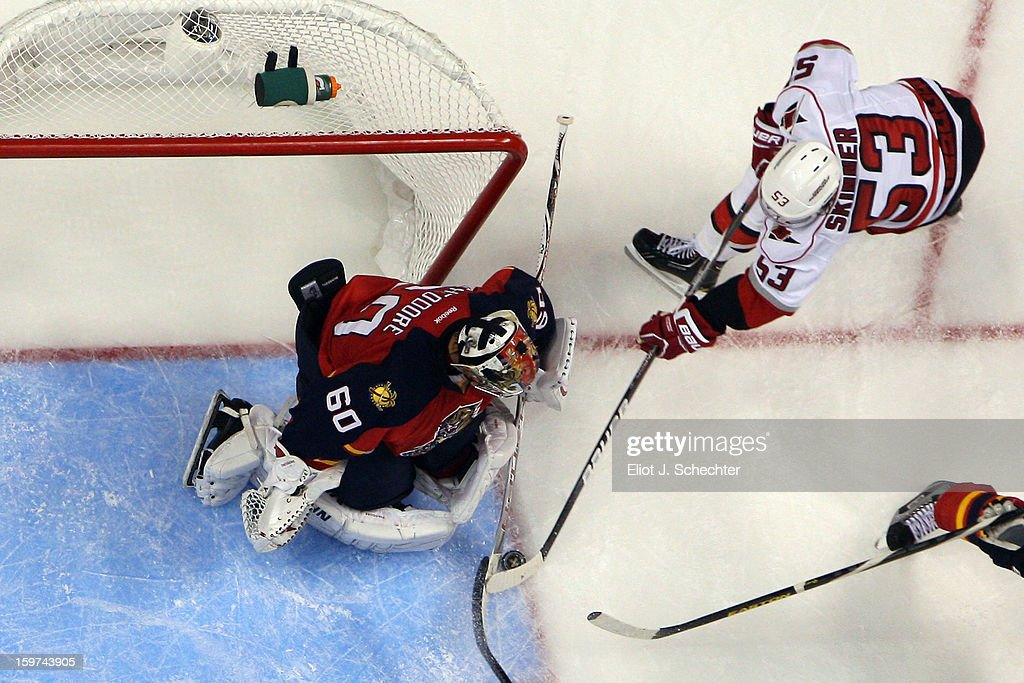 Goaltender <a gi-track='captionPersonalityLinkClicked' href=/galleries/search?phrase=Jose+Theodore&family=editorial&specificpeople=202011 ng-click='$event.stopPropagation()'>Jose Theodore</a> #60 of the Florida Panthers defends the net against <a gi-track='captionPersonalityLinkClicked' href=/galleries/search?phrase=Jeff+Skinner&family=editorial&specificpeople=3147596 ng-click='$event.stopPropagation()'>Jeff Skinner</a> #53 of the Carolina Hurricanes at the BB&T Center on January 19, 2013 in Sunrise, Florida.