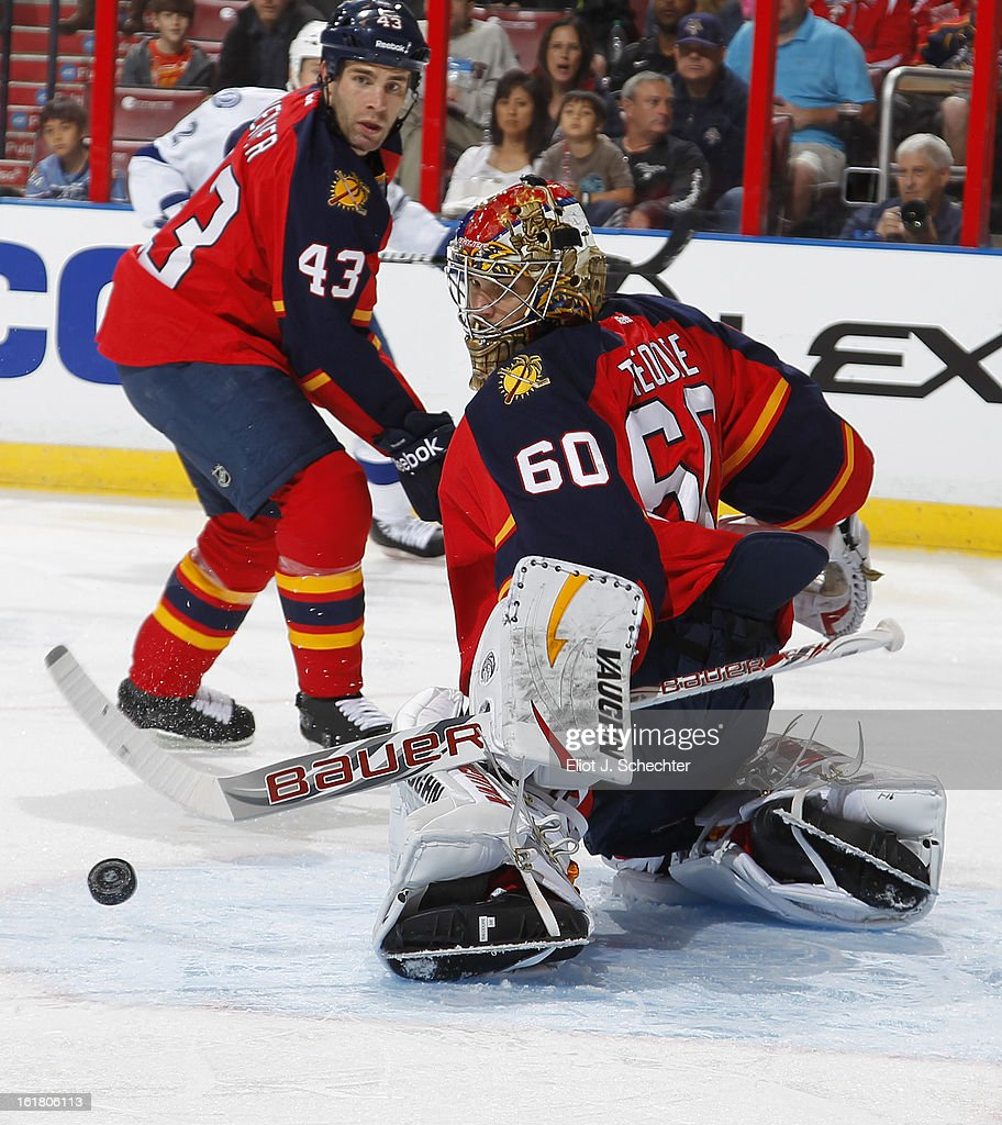 Goaltender Jose Theodore #60 of the Florida Panthers defends the net against the Tampa Bay Lightning at the BB&T Center on February 16, 2013 in Sunrise, Florida.