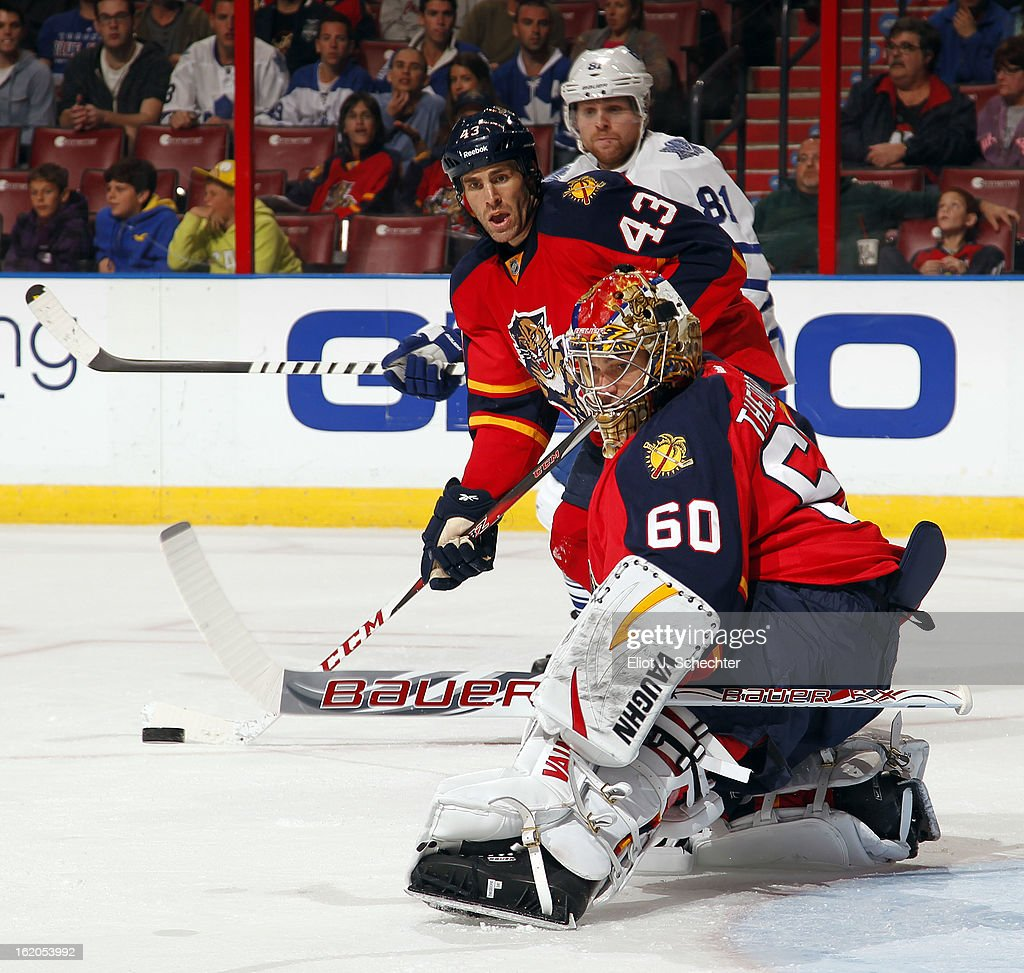 Goaltender Jose Theodore #60 of the Florida Panthers defends the net against the Toronto Maple Leafs at the BB&T Center on February 18, 2013 in Sunrise, Florida.