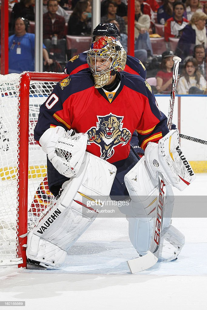 Goaltender Jose Theodore #60 of the Florida Panthers defends the net against the Toronto Maple Leafs at the BB&T Center on February 18, 2013 in Sunrise, Florida. The Maple Leafs defeated the Panthers 3-0.