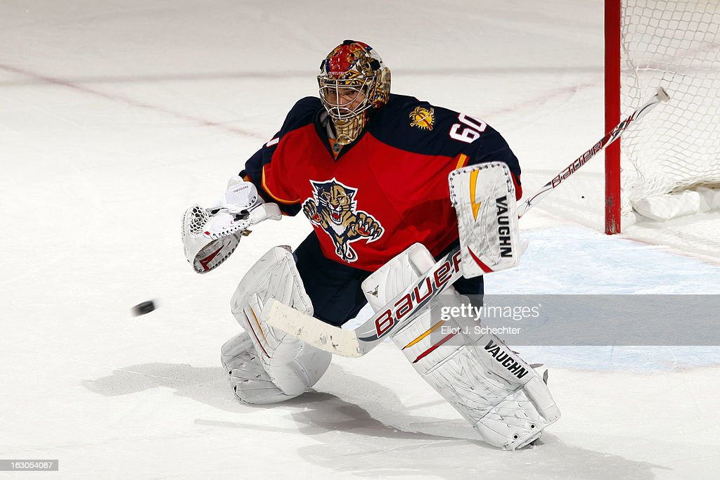 Goaltender Jose Theodore #60 of the Florida Panthers defends the net against the Buffalo Sabres at the BB&T Center on February 28, 2013 in Sunrise, Florida.