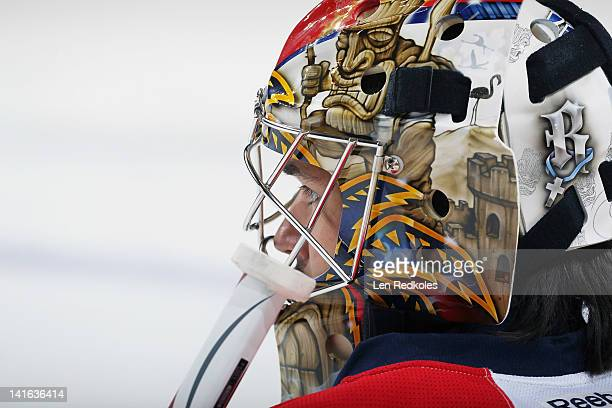 Goaltender Jose Theodore of the Florida Panthers looks on during warmups prior to his game against the Philadelphia Flyers on March 20 2012 at the...