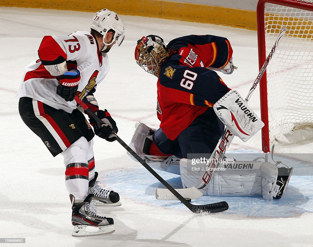 Goaltender Jose Theodore #60 of the Florida Panthers makes a save during a penalty shot against Guillaume Latendresse #73 of the Ottawa Senators at the BB&T Center on January 24, 2013 in Sunrise, Florida.