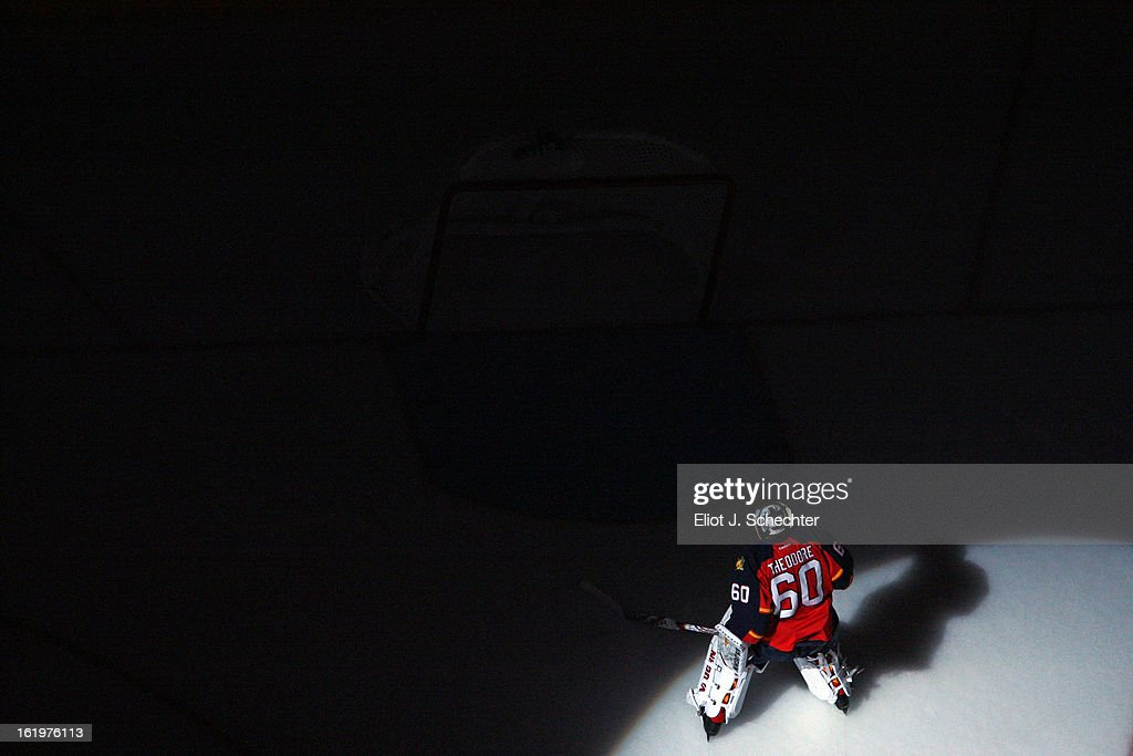 Goaltender Jose Theodore #60 of the Florida Panthers skates on the ice prior to the start of the game against the Tampa Bay Lightning at the BB&T Center on February 16, 2013 in Sunrise, Florida.