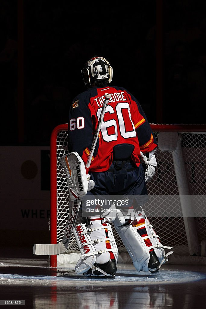 Goaltender Jose Theodore #60 of the Florida Panthers skates on the ice prior to the start of the game against the Pittsburgh Penguins at the BB&T Center on February 26, 2013 in Sunrise, Florida.