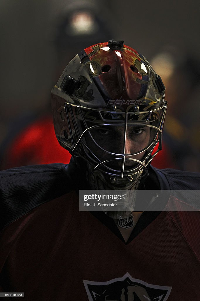Goaltender Jose Theodore #60 of the Florida Panthers stands outside the dressing room prior to the start of the game against the Toronto Maple Leafs at the BB&T Center on February 18, 2013 in Sunrise, Florida.