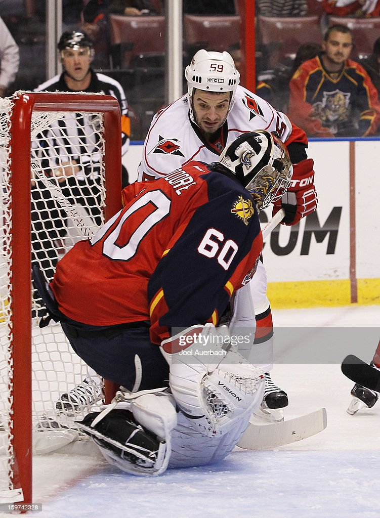 Goaltender Jose Theodore #60 of the Florida Panthers stops a shot by Chad LaRose #59 of the Carolina Hurricanes during the seasons opener at the BB&T Center on January 19, 2013 in Sunrise, Florida.The Panthers defeated the Hurricanes 5-1.
