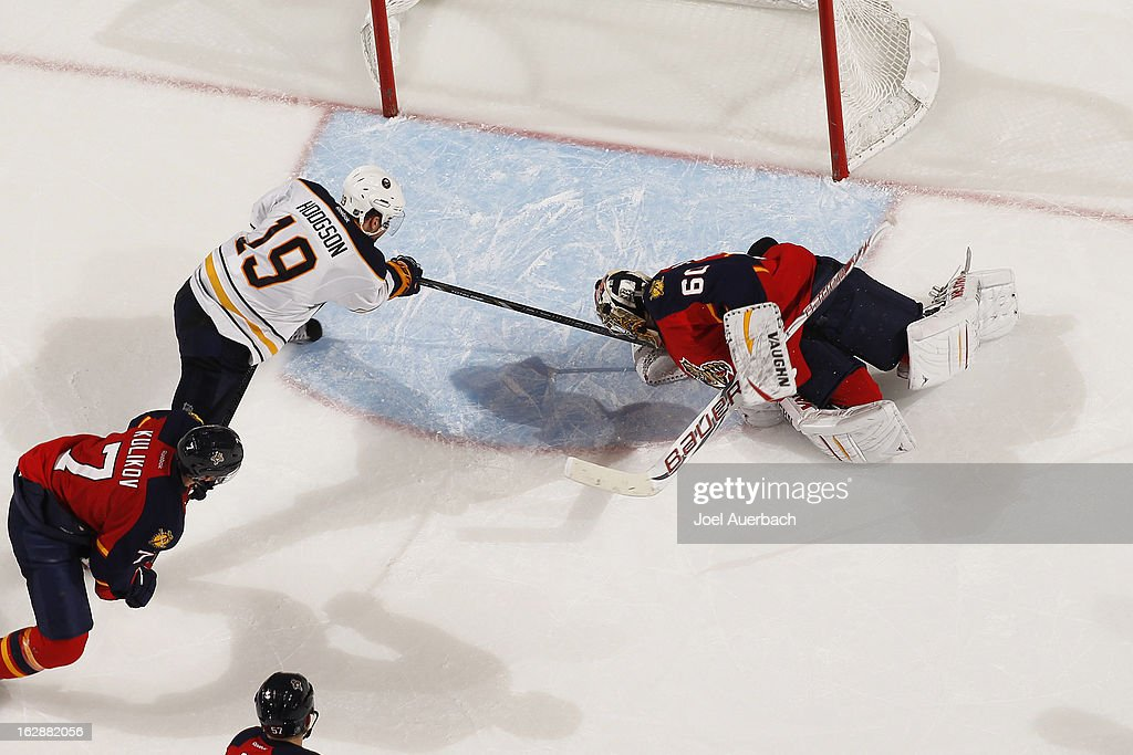 Goaltender <a gi-track='captionPersonalityLinkClicked' href=/galleries/search?phrase=Jose+Theodore&family=editorial&specificpeople=202011 ng-click='$event.stopPropagation()'>Jose Theodore</a> #60 of the Florida Panthers stops a shot by <a gi-track='captionPersonalityLinkClicked' href=/galleries/search?phrase=Cody+Hodgson&family=editorial&specificpeople=4151192 ng-click='$event.stopPropagation()'>Cody Hodgson</a> #19 of the Buffalo Sabres at the BB&T Center on February 28, 2013 in Sunrise, Florida. The Sabres defeated the Panthers 4-3 in a shootout.