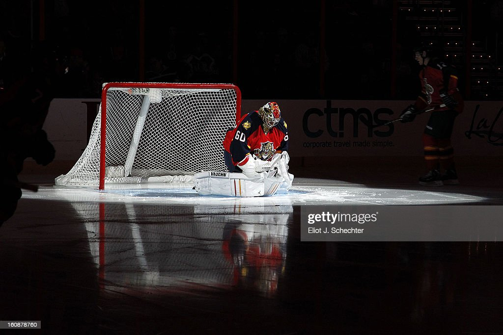 Goaltender Jose Theodore #60 of the Florida Panthers stretches on the ice prior to the start of the game against the Winnipeg Jets at the BB&T Center on January 31, 2013 in Sunrise, Florida.