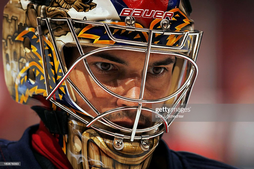 Goaltender Jose Theodore #60 of the Florida Panthers warms up on the ice prior to the start of the game against the Winnipeg Jets at the BB&T Center on January 31, 2013 in Sunrise, Florida.