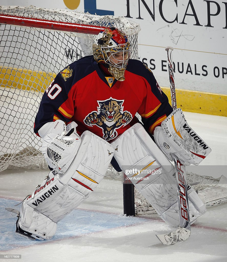 Goaltender Jose Theodore #60 of the Florida Panthers warms up prior to the game against the Pittsburgh Penguins at the BB&T Center on February 26, 2013 in Sunrise, Florida.
