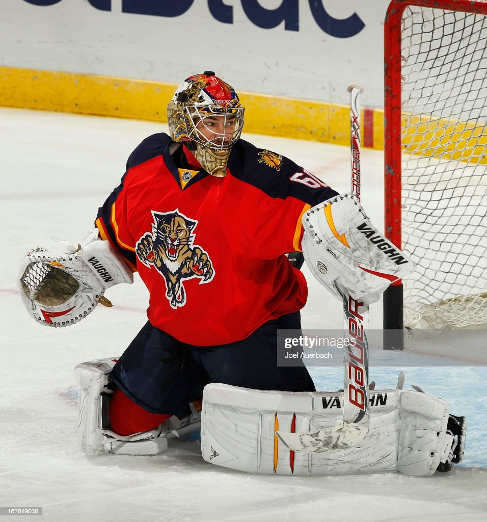 Goaltender Jose Theodore #60 of the Florida Panthers warms up prior to the game against the Pittsburgh Penguins at the BB&T Center on February 26, 2013 in Sunrise, Florida. The Panthers defeated the Penguins 6-4.