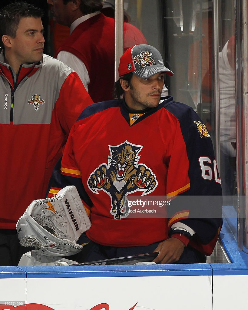 Goaltender Jose Theodore #60 of the Florida Panthers watches third period action against the Boston Bruins at the BB&T Center on February 24, 2013 in Sunrise, Florida. The Bruins defeated the Panthers 4-1.