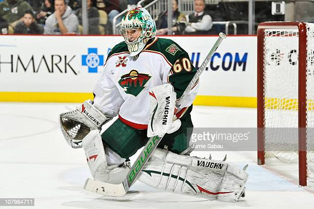 Goaltender Jose Theodore of the Minnesota Wild guards the net against the Pittsburgh Penguins on January 8 2011 at CONSOL Energy Center in Pittsburgh...