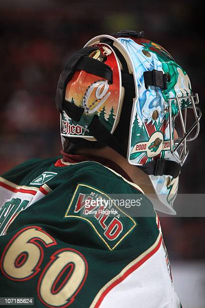 Goaltender Jose Theodore of the Minnesota Wild looks down the ice during an NHL game against the Detroit Red Wings at Joe Louis Arena on November 19...