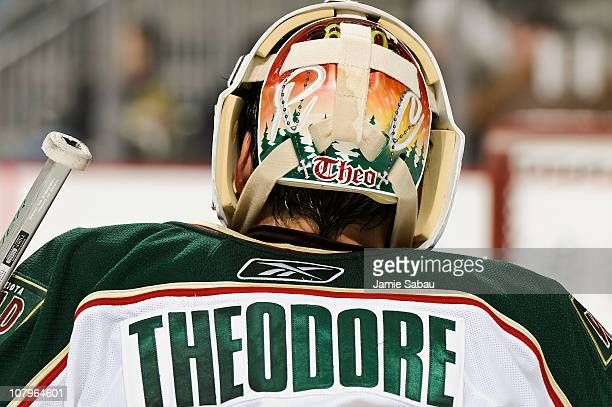 Goaltender Jose Theodore of the Minnesota Wild takes a breather against the Pittsburgh Penguins on January 8 2011 at CONSOL Energy Center in...
