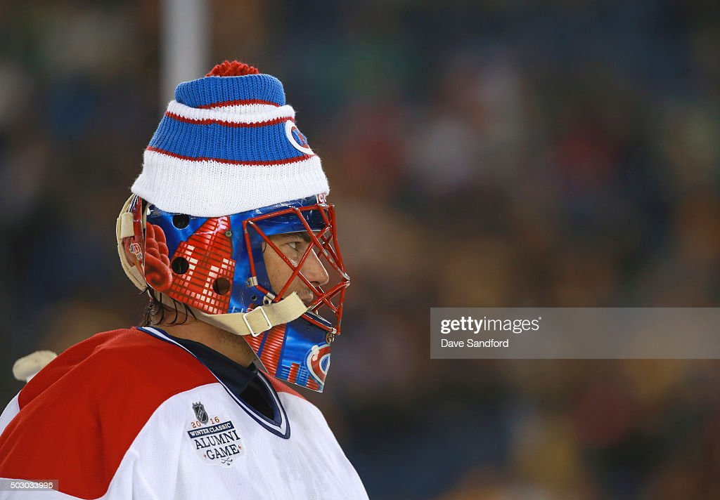 Goaltender Jose Theodore of the Montreal Canadiens Alumni Team defends their net during the Alumni Game as part of the 2016 Bridgestone NHL Classic...